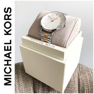 NWT authentic MK silver rosegold tone Jaryn watch